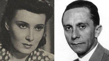 """Lida Baarová, llamada """"la más bella de Europa"""" y .Joseph Goebbels, el  monstruoso ministro de Propaganda nazi. Durante dos años vivieron un romance"""