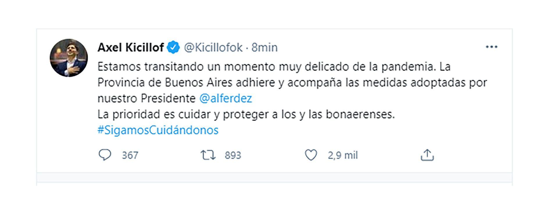 Tuit Axel Kicillof respalda medidas de restriccion