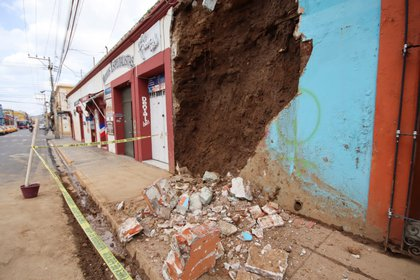 The wall of a house damaged during a quake is seen in Oaxaca, Mexico June 23, 2020. REUTERS/Jorge Luis Plata