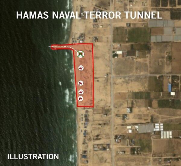 Un mapa de los bombardeos sobre instalaciones de Hamas y el túnel. Sucedió en el norte de Gaza, sin mayores precisiones de parte de las FDI