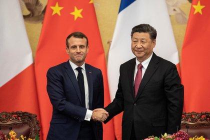 El presidente de Francia, Emmanuel Macron y su homólogo chino , Xi Jinping