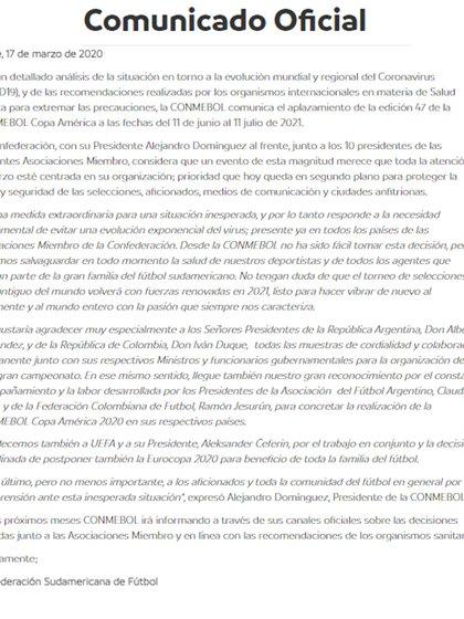 Comunicado oficial de la Conmebol sobre la postergación para el 2021 de la Copa América