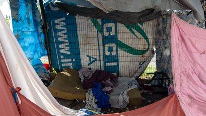 La carpa en la cual duerme Maia, la nena de 7 años que fue secuestrada y mantuvo en vilo al país
