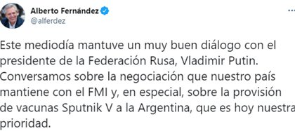 Tuit de Alberto Fernández demostrando su relación estrecha con el presidente Vladimir Putin