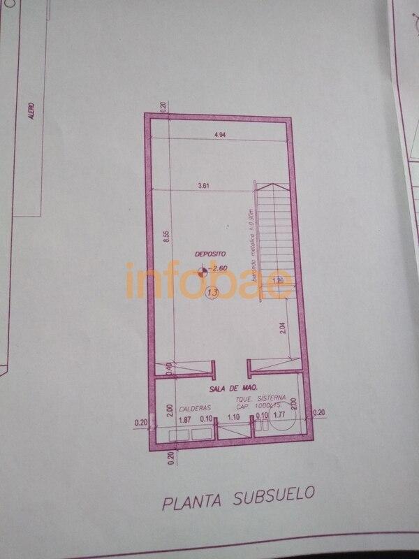 El plano de la casa de Baratta muestra las dimensiones del subsuelo.