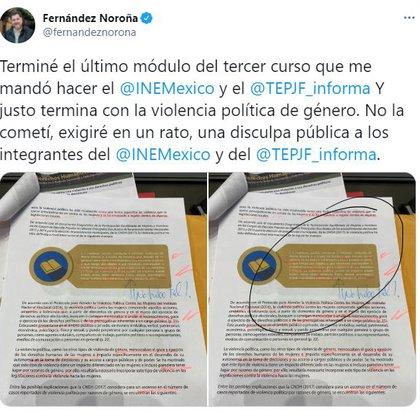 Fernández Noroña aseguró que no cometió violencia política de género (Foto: Twitter / @fernandeznorona)