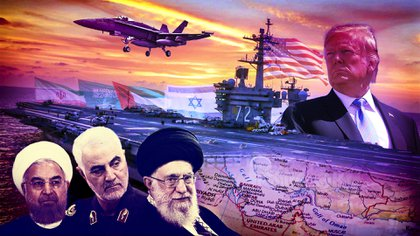 El ayatollah Ali Khamenei, Qassem Soleimani y Hassan Rouhani. En frente, Donald Trump y su poderoso portaaviones US Abraham Lincoln