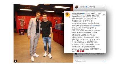 La respuesta de Luis Suárez al posteo de despedida que le dedicó Messi