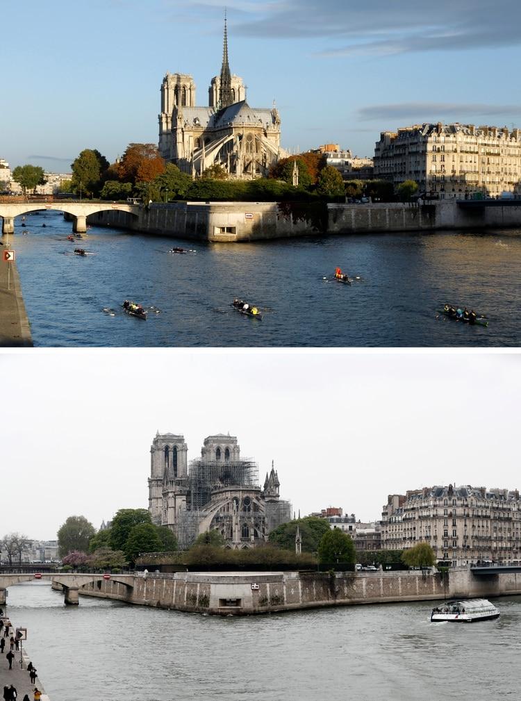 Las embarcaciones de turistas continuaron navegando por el Sena luego del incendio (Reuters)