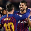Soccer Football - La Liga Santander - FC Barcelona v Leganes - Camp Nou, Barcelona, Spain - January 20, 2019 Barcelona's Luis Suarez celebrates scoring their second goal with Lionel Messi REUTERS/Albert Gea