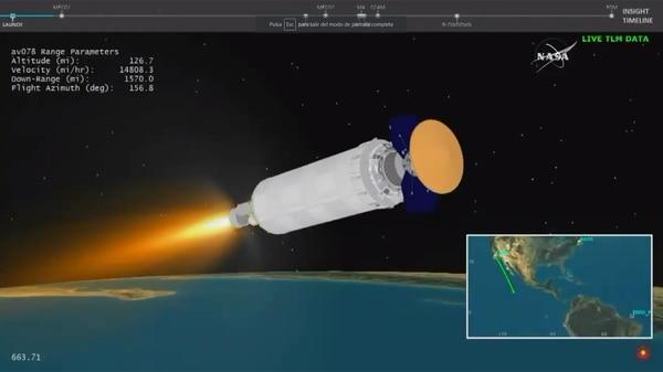La sonda Mars InSight despegó antes del amanecer desde la base Vandenberg de la Fuerza Aérea, cerca de la costa central de California (Captura de video)