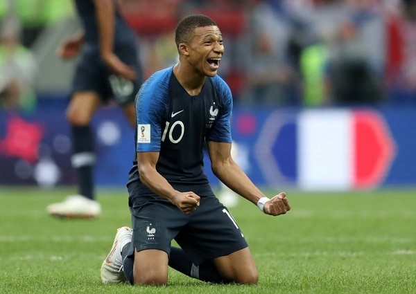 Soccer Football – World Cup – Final – France v Croatia – Luzhniki Stadium, Moscow, Russia – July 15, 2018 France's Kylian Mbappe celebrates winning the World Cup REUTERS/Carl Recine