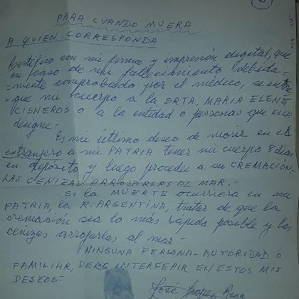 Documento exclusivo: la carta de López Rega con sus últimos deseos