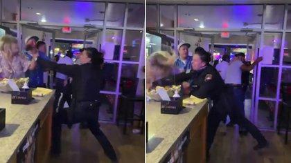 A puños y patadas: guardia de seguridad agredió a personas en un restaurante mexicano de Texas