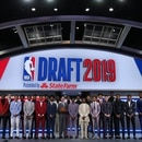 Jun 20, 2019; Brooklyn, NY, USA; NBA Draft prospects pose for a group photo with commissioner Adam Silver (center) prior to the first round of the 2019 NBA Draft at Barclays Center. Mandatory Credit: Brad Penner-USA TODAY Sports