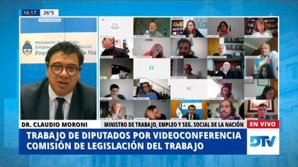 El ministro de Trabajo, Claudio Moroni, en la reunión informativa sobre el teletrabajo en Diputados