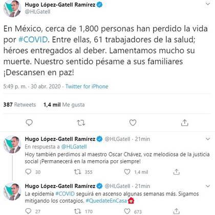 El doctor López-Gatell también se sumó a reconocer el legado de Chávez (Foto: Twitter@HLGatell)