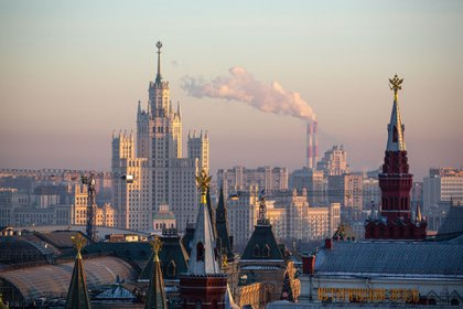 The Kotelnicheskaya embankment building, viewed from the O2 Lounge restaurant on the roof of the Ritz-Carlton hotel, in Moscow, Russia, on Friday, Dec. 11, 2020. Russia's household consumption is rebounding from a steep plunge in the second quarter, but the gains reflect pent-up demand and only a partial return to normalcy. Photographer: Andrey Rudakov/Bloomberg