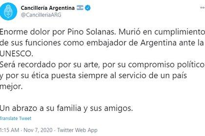 El Ministerio de Relaciones Exteriores confirmó el fallecimiento de Pino Solanas