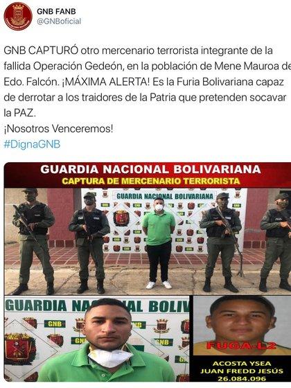 El comunicado que publicó la Guardia Nacional Bolivariana