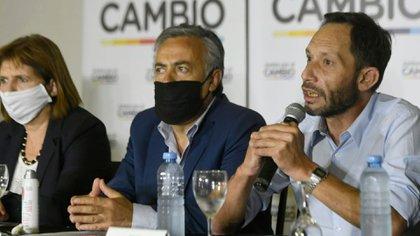 Patricia Bullrich, Alfredo Cornejo y Maximiliano Ferraro