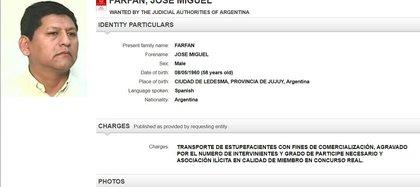 La ficha de Farfán en el sitio de Interpol.