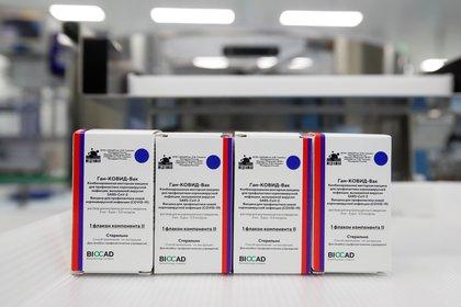 Cajas con las dosis de la vacuna rusa contra el coronavirus, conocida como Sputnik V, en la compañía BIOCAD que las desarrolla (Reuters)