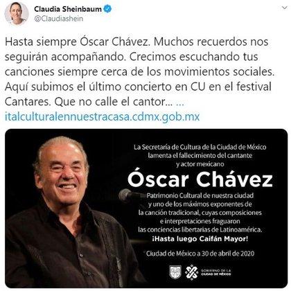 La jefa de Gobierno de la capital mexicana emitió un mensaje recordando al cantante (Foto: Twitter@Claudiashein)