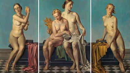 'Las cuatro estaciones', Adolf Ziegler. Un ejemplo del arte aceptado y promovido por el nazismo