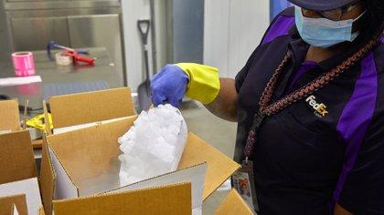 Trabajos de preparación en FedEx para el transporte de vacunas supercongeladas