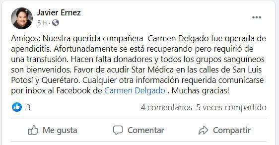 Así fue la publicación original del productor de Fuego Ardiente (Foto: captura de pantalla  Facebook/javier.ernez)