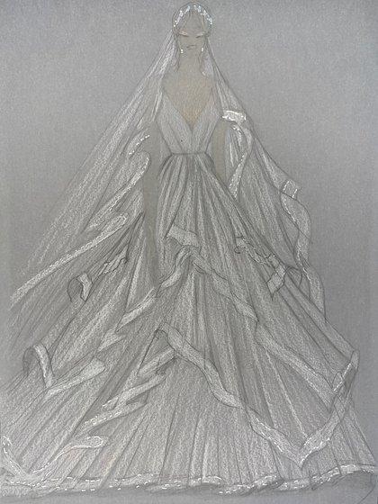 El diseño del vestido de Pampita realizado por Gabriel Lage