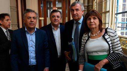 Alfredo Cornejo, Mario Negri, Gerardo Morales y Patricia Bullrich (Maximiliano Luna)