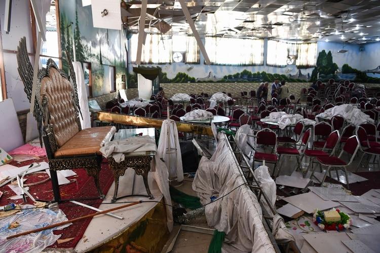 Los escombros que quedaron tras la explosión (AFP)