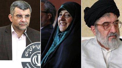 Iraj Harirchi, Masumeh Ebtekar y Seyyed Hadi Khosroshahi