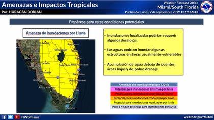 Los últimos pronósticos gráficos sobre el huracán Dorian en Florida para las primeras horas del martes (Foto: NWS)