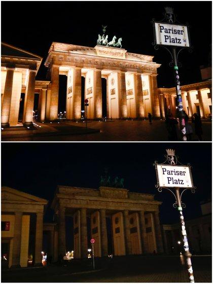 Una foto combinada muestra la Puerta de Brandenburgo antes (arriba) y durante la Hora del Planeta en Berlín, Alemania