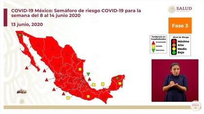 Semáforo de riesgo epidémico en México para la semana del 8 al 14 de junio (Foto: SSa)