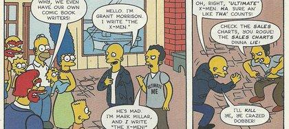 """Viñeta de una historieta de """"Los Simpsons"""", en que Morrison y Millar se pelean por los X-men"""