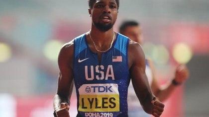 FILE PHOTO: Athletics - World Athletics Championships - Doha 2019 - Men's 200 Metres Final   - Khalifa International Stadium, Doha, Qatar - October 1, 2019 Noah Lyles of the U.S. celebrates winning gold REUTERS/Hannah Mckay/File Photo