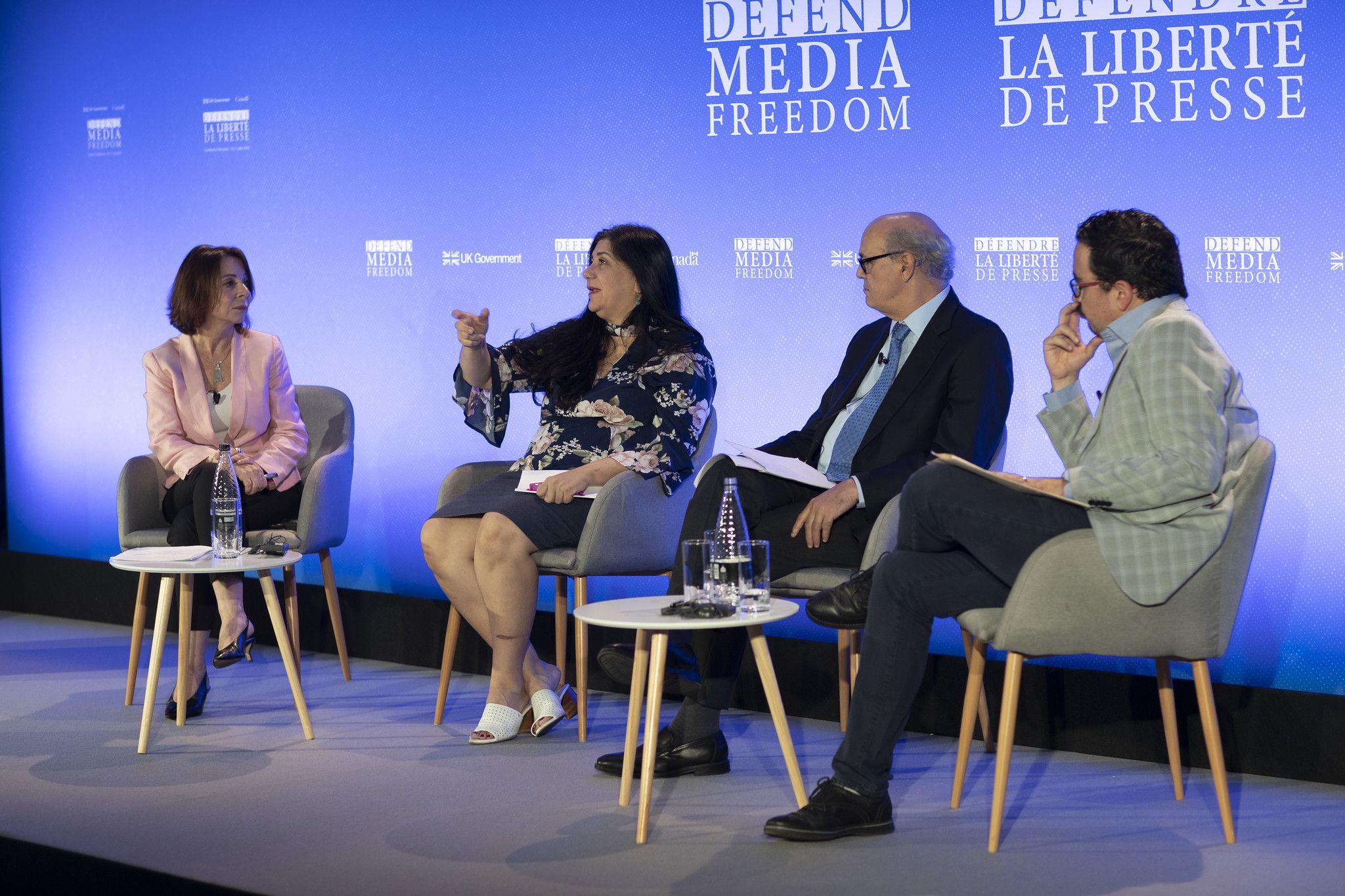El panel en Londres de los desafíos para la libertad de prensa en las Américas en el que participaron Lucía Newman, Marthe Roldós, Carlos Chamorro y Leopoldo Maldonado