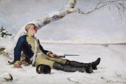 Soldado herido en la nieve (1880)