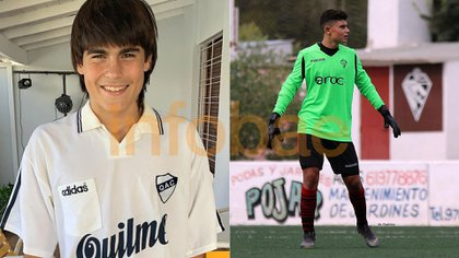 Luka Romero con una de las camisetas de Quilmes que usó su papá como jugador y su hermano Tobías atajando en las inferiores del Penya Arrabal