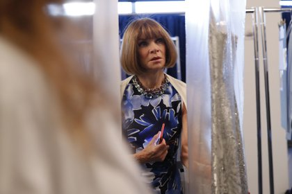 FILE -- Anna Wintour, editor in chief of Vogue, backstage at the Michael Kors fashion show in New York, Sept. 13, 2017. Vice President-elect Kamala Harris is on the cover of Vogue — many people are not happy with the result. (Elizabeth Lippman/The New York Times)