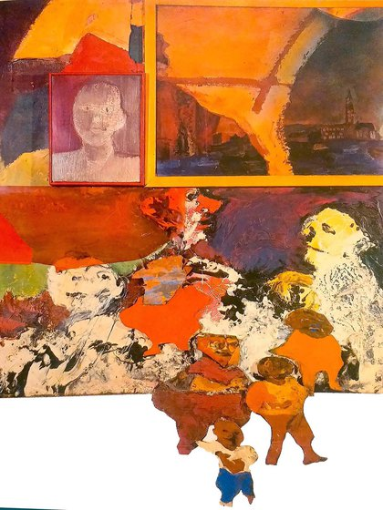 """Luis Felipe Noé, """"Festival de Newport"""" (óleo y esmalte sobre tela y madera, 1964)"""