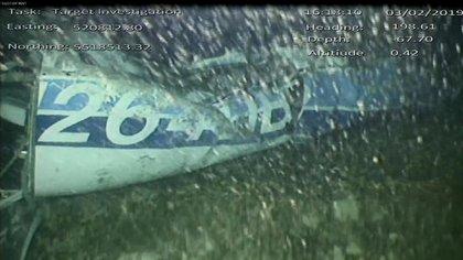 Una de las imágenes que tomó el robot submarino del avión que trasladaba a Sala de Francia a Cardiff (Foto: AAIB)