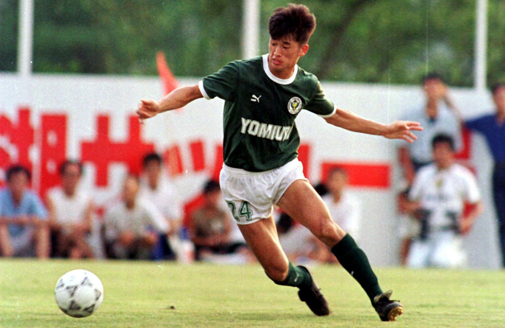 Kazuyoshi Miura en 1990 con la camiseta del Verdy Kawasaki (Shutterstock)