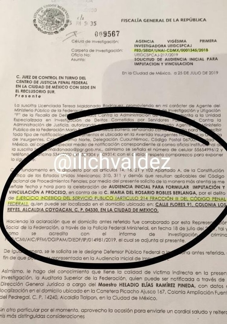 La ex funcionaria está citada para el 8 de agosto (Foto: Twitter Ilich Valdez)