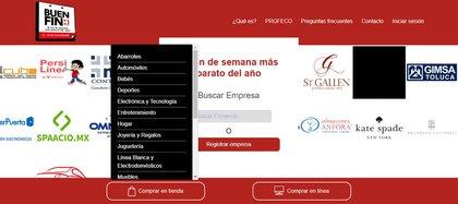 El desplegable permite conocer el listado de empresas participantes por categoría (Foto: El Buen Fin)