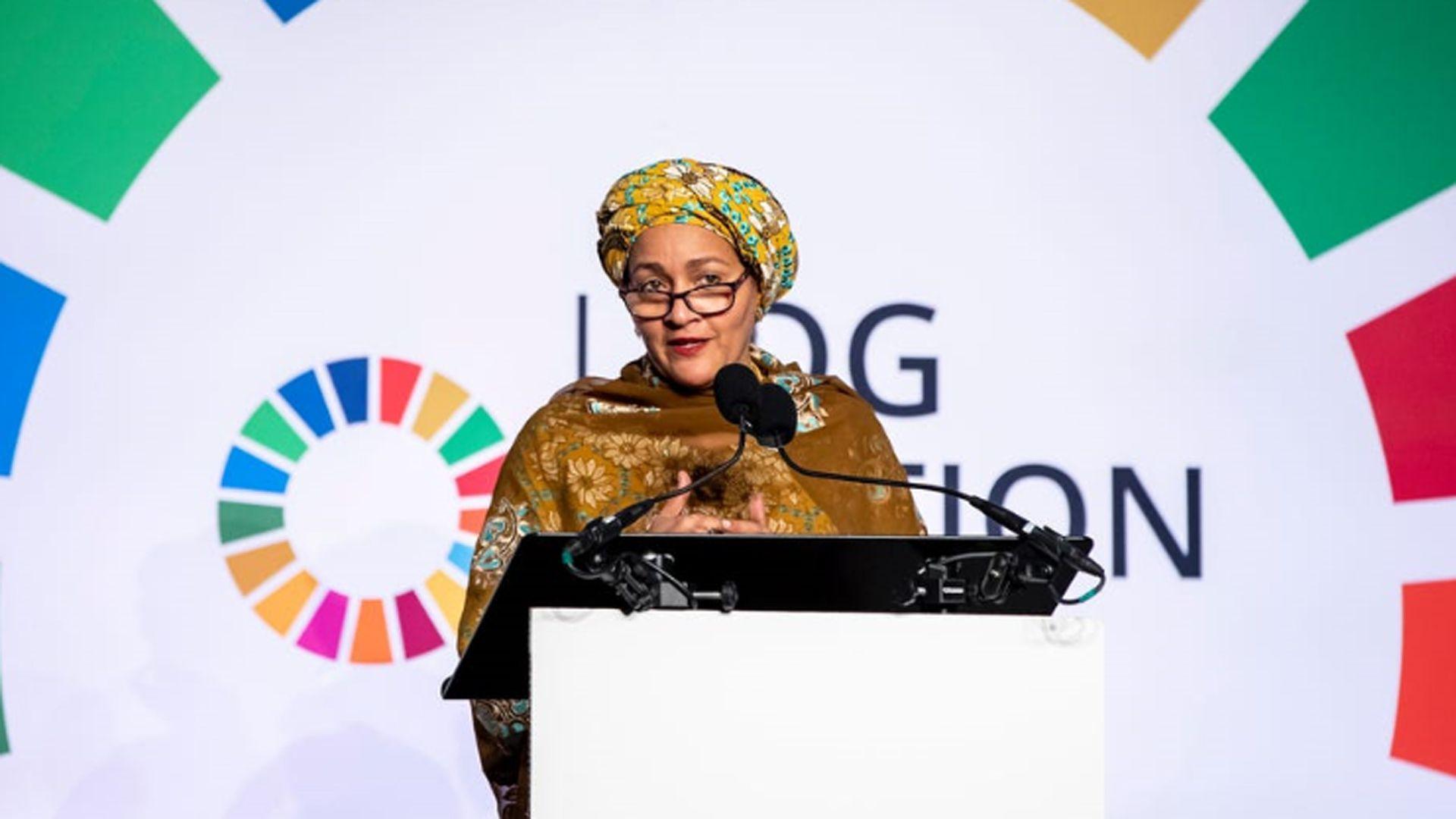 La subsecretaria general de las Naciones Unidas, Amina Mohammed, habla durante la semana de la AGNU de 2019 en Nueva York